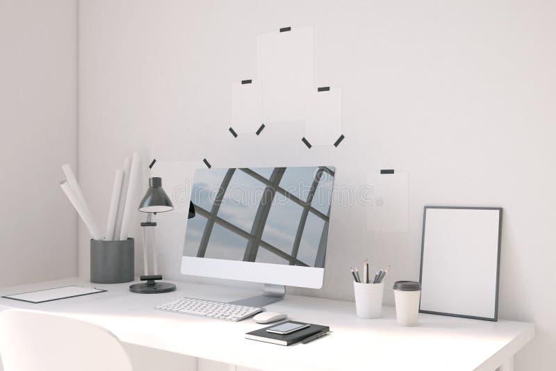 Υπολογιστής γραφείου στον πίνακα στο Υπουργείο Εσωτερικών ελεύθερη απεικόνιση δικαιώματος