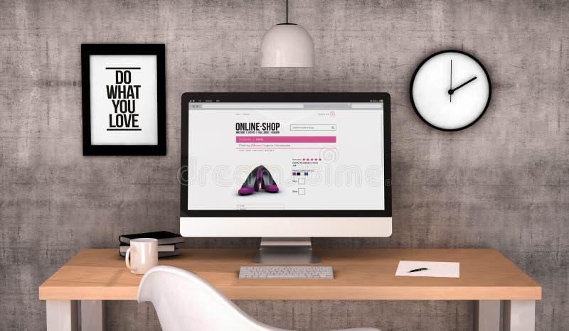 Υπολογιστής γραφείου υπολογιστών χώρου εργασίας με το σε απευθείας σύνδεση κατάστημα στην οθόνη ελεύθερη απεικόνιση δικαιώματος