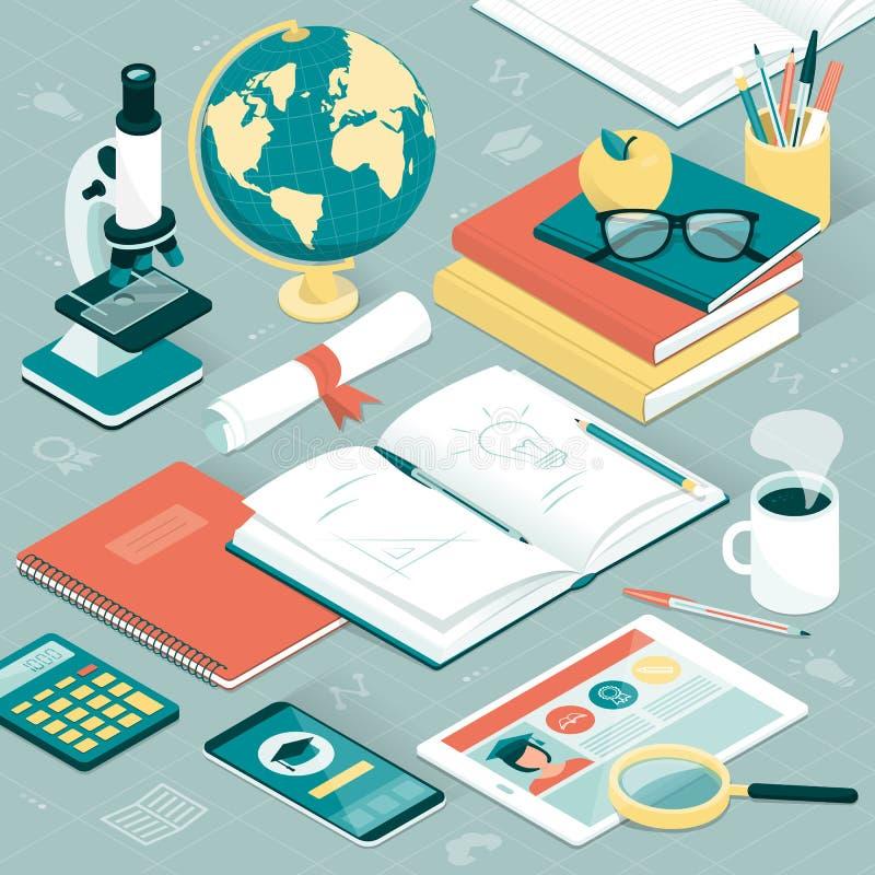 Υπολογιστής γραφείου φοιτητών πανεπιστημίου διανυσματική απεικόνιση