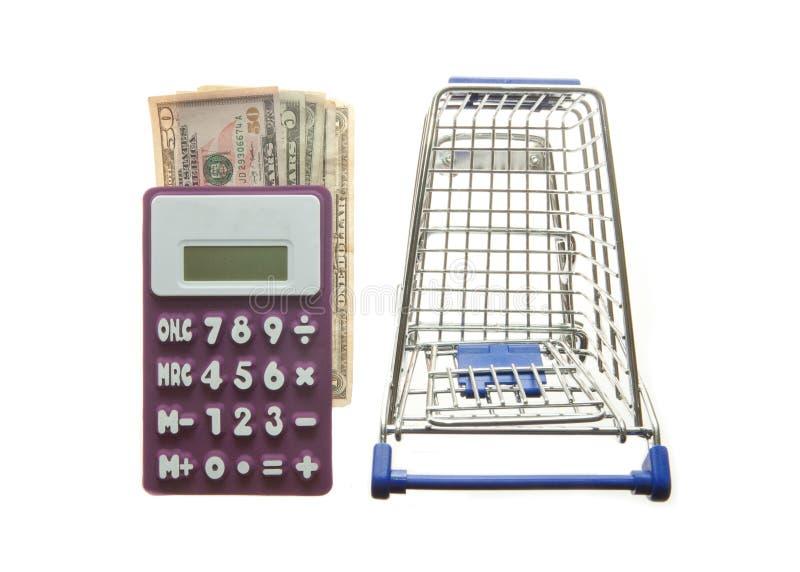 Υπολογιστής κάρρων αγορών και αμερικανικά δολάρια στοκ εικόνες με δικαίωμα ελεύθερης χρήσης