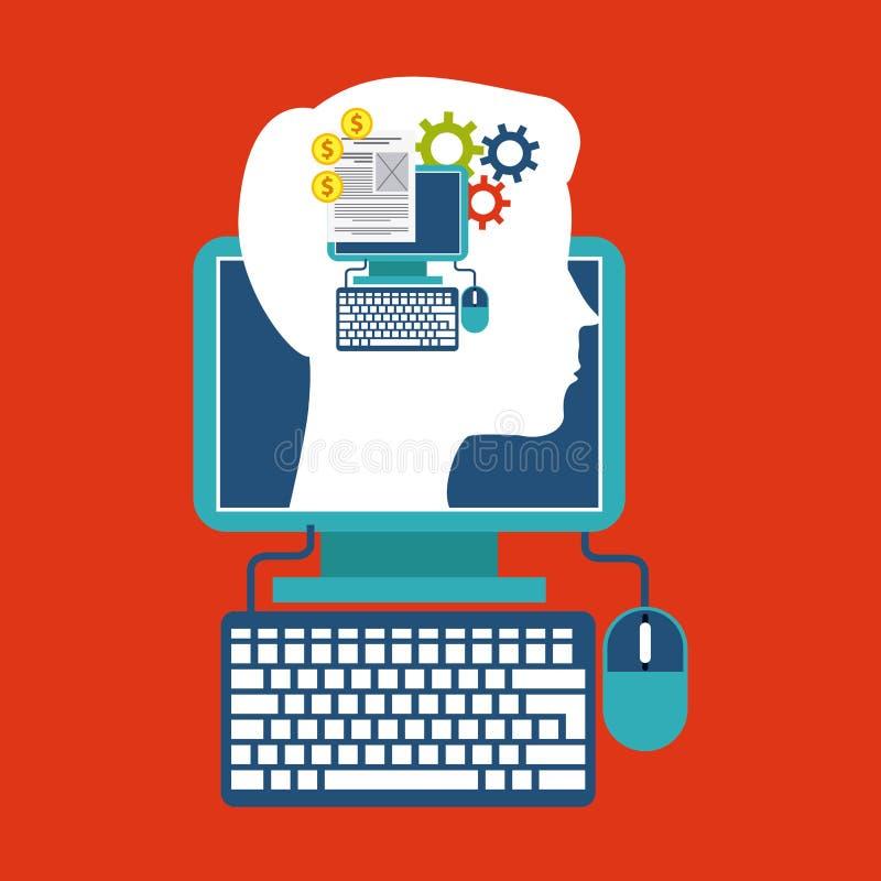 Υπολογιστής και επικεφαλής σχέδιο τρισδιάστατη εικόνα έννοιας blog που δίνεται σαν διανυσματικά κύματα στροβίλου ανασκόπησης διακ ελεύθερη απεικόνιση δικαιώματος