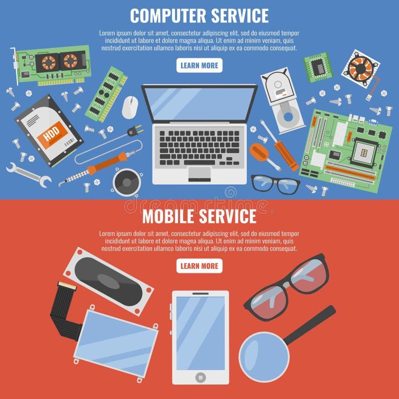 Υπολογιστής και κινητό σύνολο εμβλημάτων υπηρεσιών ελεύθερη απεικόνιση δικαιώματος