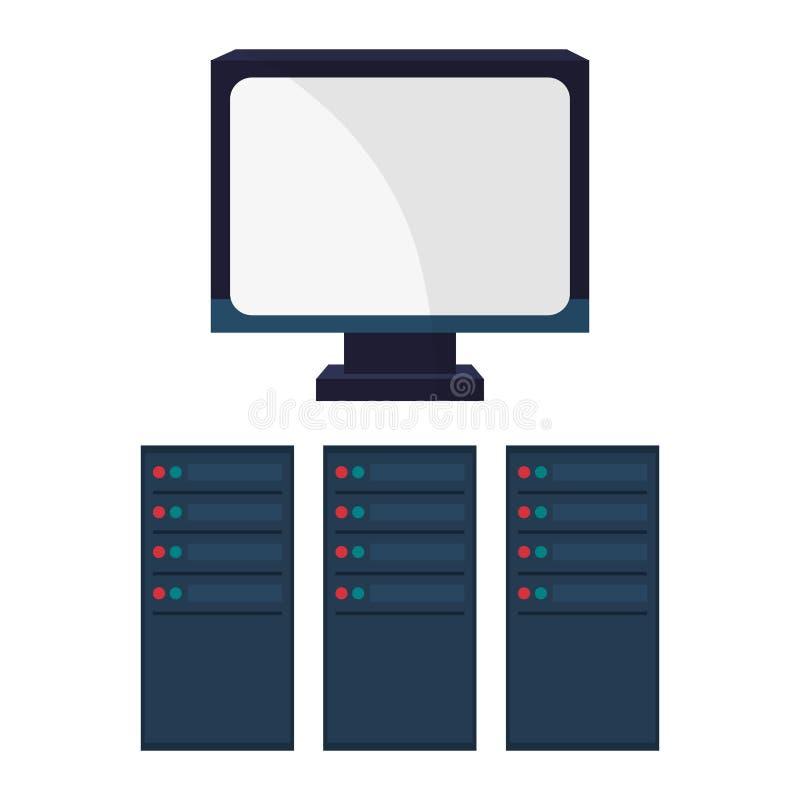 Υπολογιστής και μεγάλο σχέδιο στοιχείων διανυσματική απεικόνιση