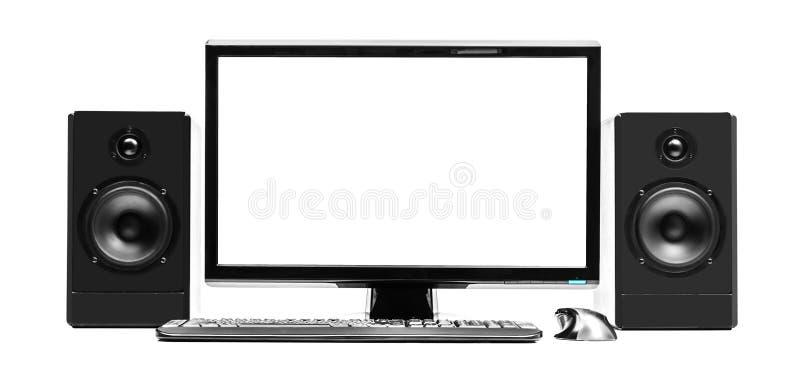 Υπολογιστής και ομιλητές στοκ εικόνα με δικαίωμα ελεύθερης χρήσης