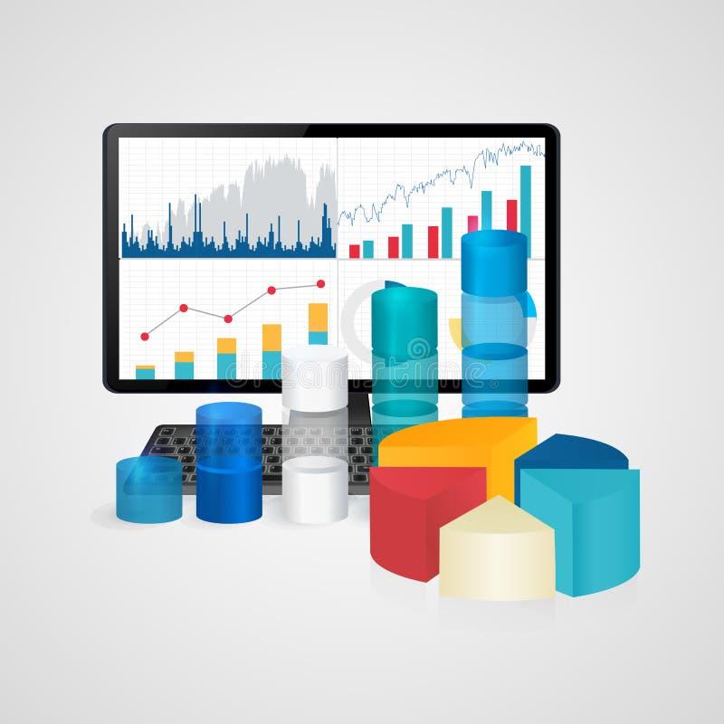 Υπολογιστής και πληκτρολόγιο με τα οικονομικές διαγράμματα και τις γραφικές παραστάσεις - επιχείρηση, χρηματοδότηση, λογιστική έν απεικόνιση αποθεμάτων