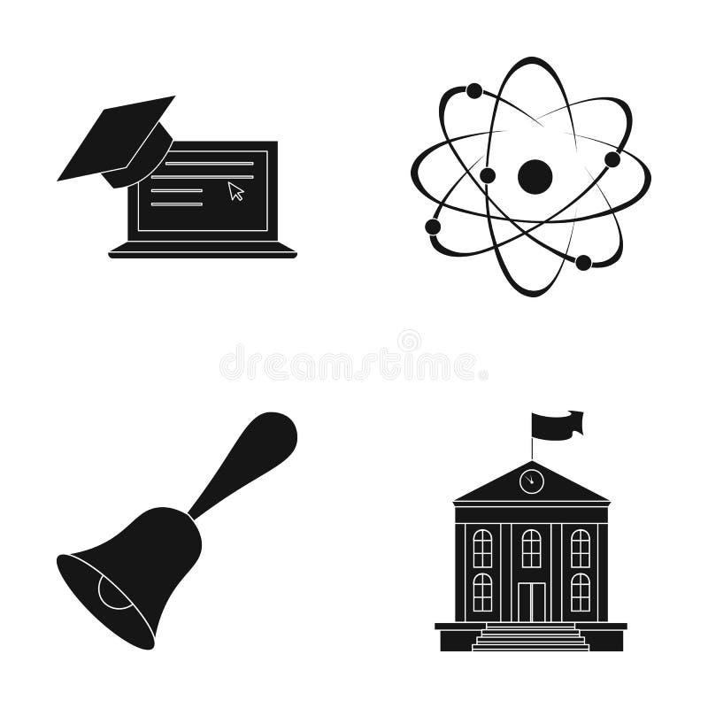 Υπολογιστής, ΚΑΠ, άτομο, πυρήνας, κουδούνι, πανεπιστημιακό κτήριο Εικονίδια σχολικής καθορισμένα συλλογής στο μαύρο απόθεμα συμβό απεικόνιση αποθεμάτων