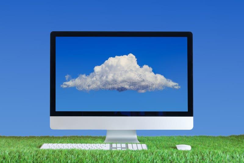 Υπολογιστής με το σύννεφο στην οθόνη στοκ εικόνα με δικαίωμα ελεύθερης χρήσης