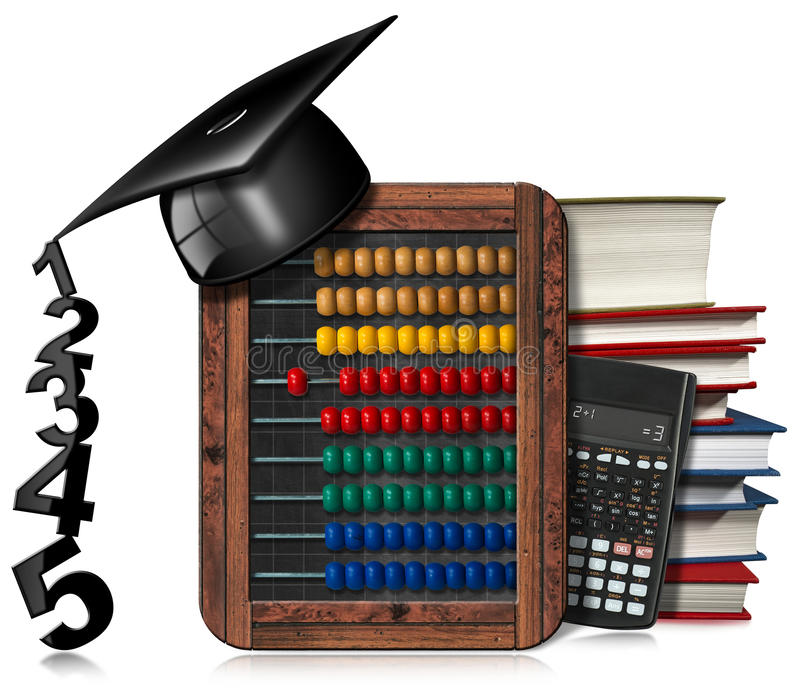 Υπολογιστής πινάκων αβάκων και καπέλο βαθμολόγησης διανυσματική απεικόνιση