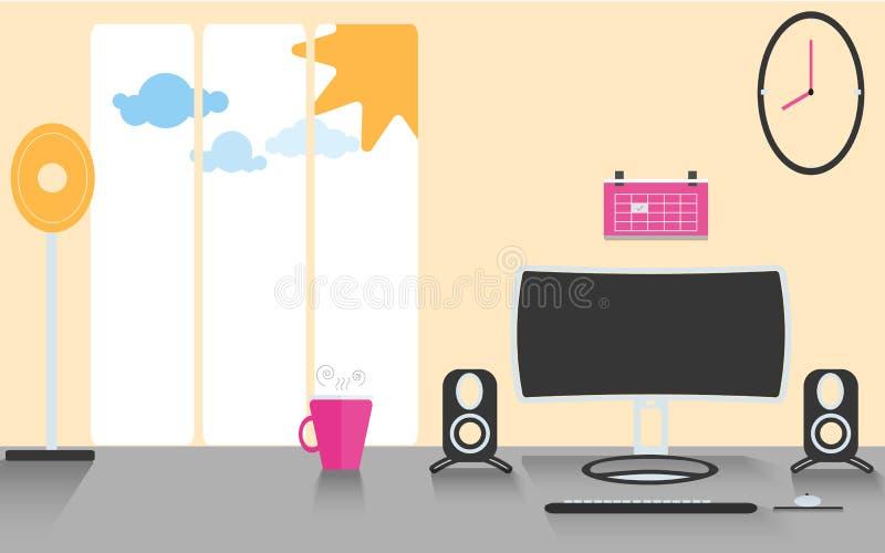 Υπολογιστής που τίθεται στον πίνακα με τον ομιλητή ελεύθερη απεικόνιση δικαιώματος