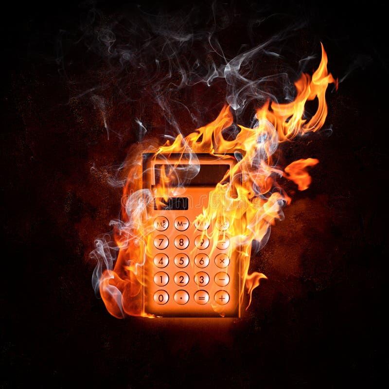 Υπολογιστής στην πυρκαγιά στοκ φωτογραφία