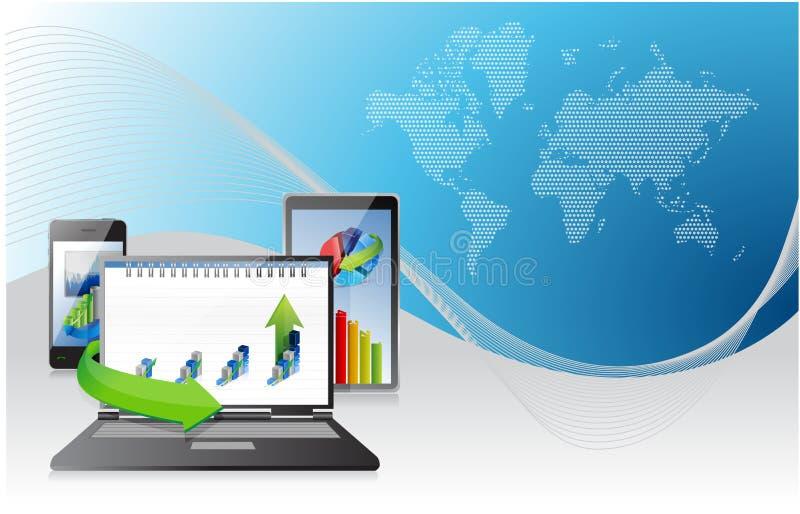 Υπολογιστής, ταμπλέτα lap-top και τηλέφωνο. επιχειρησιακές γραφικές παραστάσεις διανυσματική απεικόνιση
