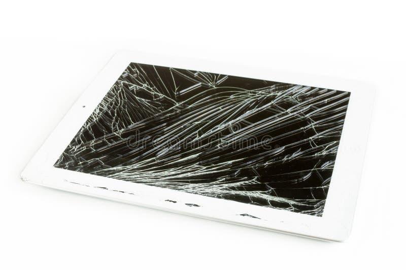 Υπολογιστής ταμπλετών με τη σπασμένη οθόνη γυαλιού στοκ εικόνες με δικαίωμα ελεύθερης χρήσης