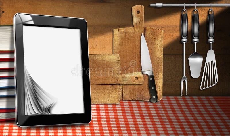 Υπολογιστής ταμπλετών στην κουζίνα απεικόνιση αποθεμάτων