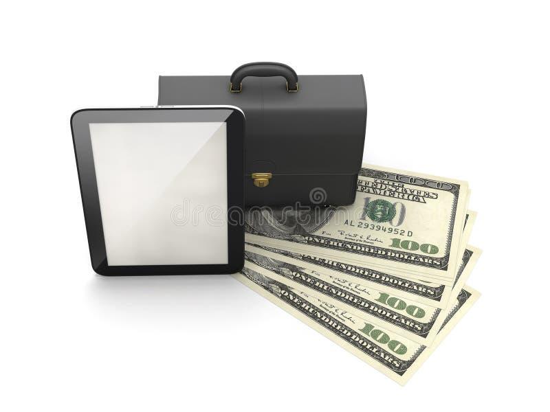 Υπολογιστής ταμπλετών, χαρτοφύλακας δέρματος και λογαριασμοί δολαρίων απεικόνιση αποθεμάτων
