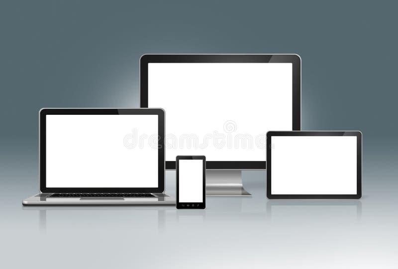 Υπολογιστής υψηλής τεχνολογίας που τίθεται σε ένα φουτουριστικό γκρίζο υπόβαθρο διανυσματική απεικόνιση