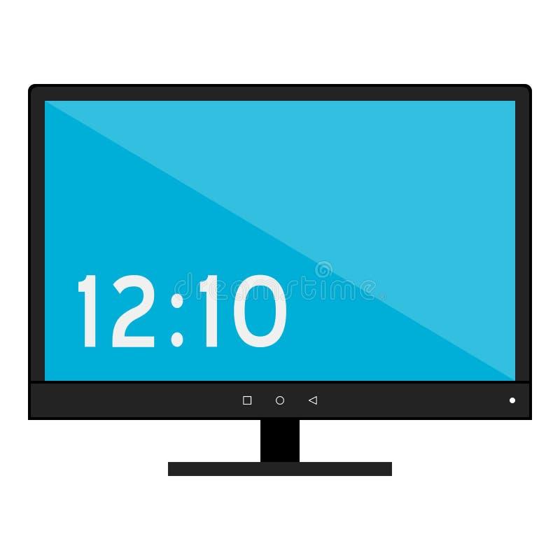 Υπολογιστών γραφείου οθόνης εικονίδιο που απομονώνεται επίπεδο στο λευκό διανυσματική απεικόνιση