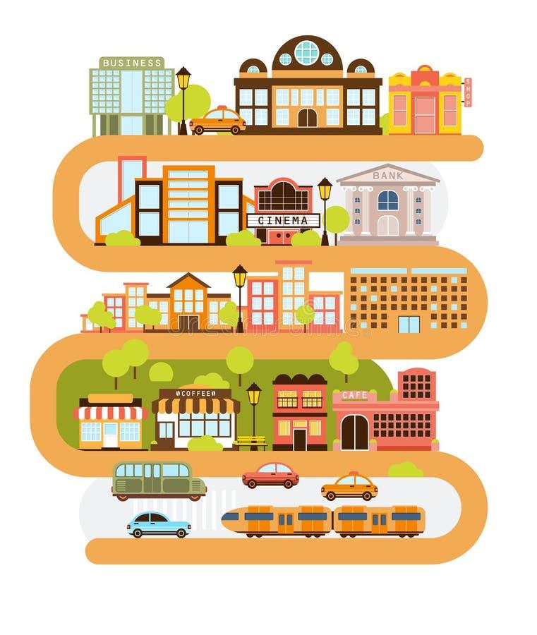 Υποδομή πόλεων και όλα τα αστικά κτήρια που ευθυγραμμίζονται με την κυρτή πορτοκαλιά γραμμή στη γραφική διανυσματική απεικόνιση απεικόνιση αποθεμάτων