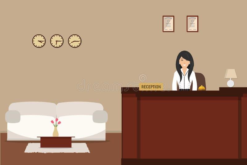 Υποδοχή ξενοδοχείων Νέες στάσεις ρεσεψιονίστ γυναικών στο γραφείο υποδοχής ελεύθερη απεικόνιση δικαιώματος
