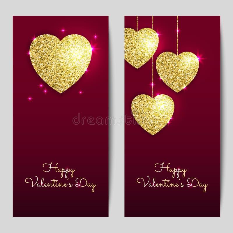 Υπόβαθρα ημέρας βαλεντίνων με τις χρυσές καρδιές Να λάμψει ακτινοβολεί κατασκευασμένοι βαλεντίνοι διανυσματική απεικόνιση