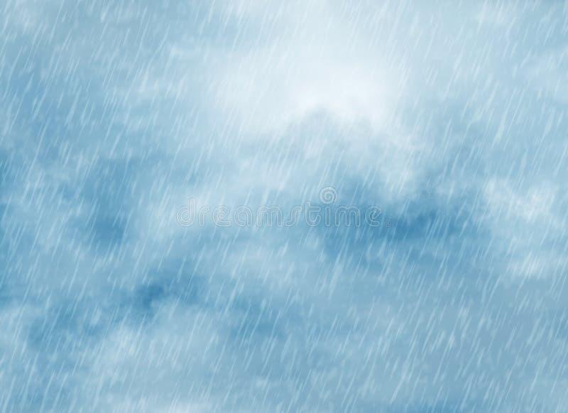 Υπόβαθρα θύελλας βροχής στο νεφελώδη καιρό διανυσματική απεικόνιση