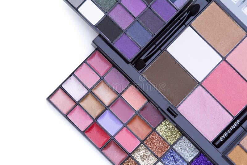 Υπόβαθρα ομορφιάς, τοπ άποψη του όμορφου SE παλετών χρώματος makeup στοκ φωτογραφία με δικαίωμα ελεύθερης χρήσης