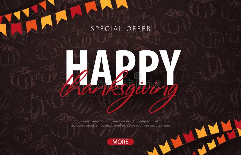 Υπόβαθρα φθινοπώρου με την κολοκύθα Ημέρα των ευχαριστιών Για την πώληση αγορών, αφίσα promo και φυλλάδιο πλαισίων, έμβλημα Ιστού διανυσματική απεικόνιση