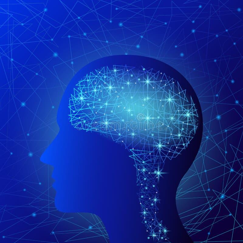 Υπόβαθρο έννοιας εγκεφάλου, ρεαλιστικό ύφος ελεύθερη απεικόνιση δικαιώματος