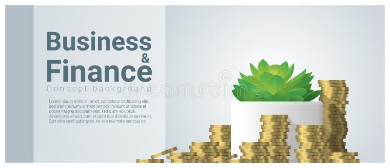 Υπόβαθρο έννοιας επιχειρήσεων και χρηματοδότησης με την ανάπτυξη των νομισμάτων αποταμίευσης διανυσματική απεικόνιση