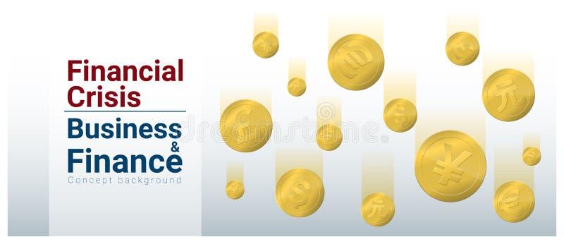 Υπόβαθρο έννοιας επιχειρήσεων και χρηματοδότησης με τη οικονομική κρίση διανυσματική απεικόνιση