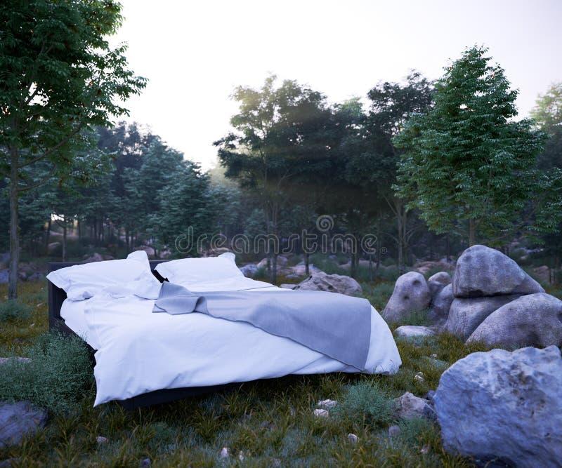 Υπόβαθρο έννοιας διακοπών με το κρεβάτι και το δάσος βραδιού στοκ εικόνες
