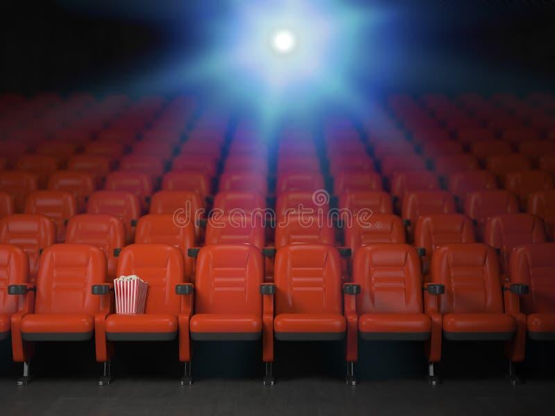 Υπόβαθρο έννοιας κινηματογράφων και κινηματογραφικών αιθουσών Κενές σειρές του κόκκινου s ελεύθερη απεικόνιση δικαιώματος