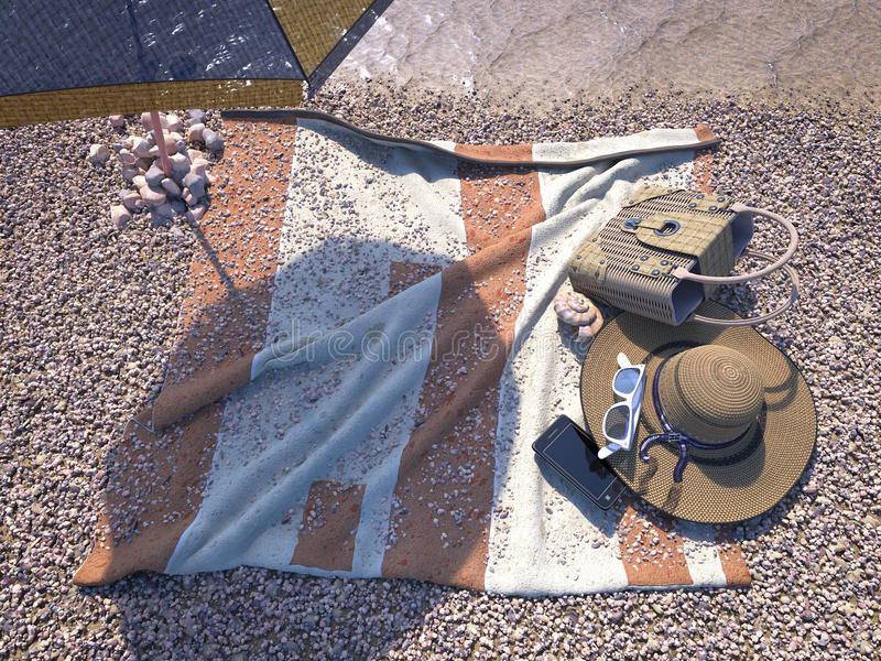 υπόβαθρο έννοιας με τα εξαρτήματα θαλασσινών κοχυλιών, ομπρελών και παραλιών στοκ φωτογραφία με δικαίωμα ελεύθερης χρήσης