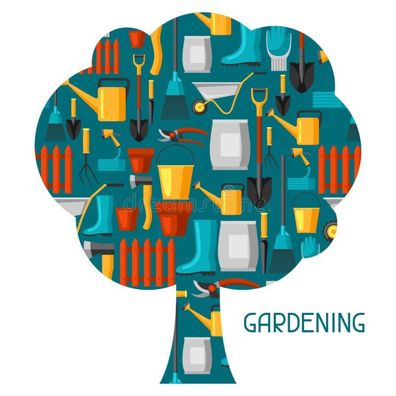 Υπόβαθρο έννοιας με τα εργαλεία και τα εικονίδια κήπων Όλοι για την επιχειρησιακή απεικόνιση κηπουρικής ελεύθερη απεικόνιση δικαιώματος