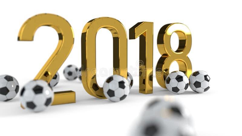 υπόβαθρο έννοιας πρωταθλήματος ποδοσφαίρου του 2018, τρισδιάστατη απόδοση ελεύθερη απεικόνιση δικαιώματος
