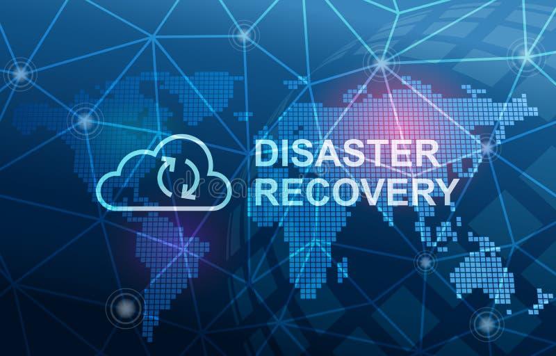 Υπόβαθρο έννοιας πρόληψης απώλειας στοιχείων κεντρικών υπολογιστών σύννεφων αποκατάστασης από καταστροφή διανυσματική απεικόνιση
