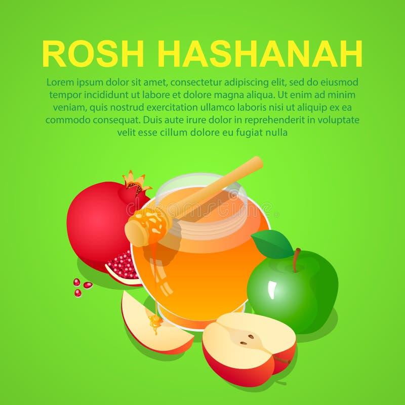 Υπόβαθρο έννοιας Rosh hashanah, isometric ύφος ελεύθερη απεικόνιση δικαιώματος
