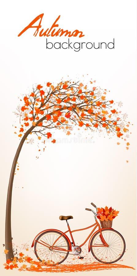 Υπόβαθρο δέντρων φθινοπώρου με το ποδήλατο διανυσματική απεικόνιση