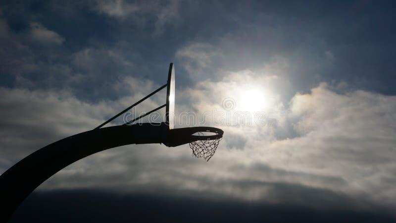 Υπόβαθρο ήλιων ουρανού καλαθοσφαίρισης στοκ φωτογραφία με δικαίωμα ελεύθερης χρήσης