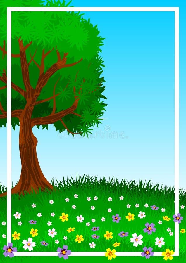 Υπόβαθρο ή ταπετσαρία με το θέμα ενός απομονωμένου δέντρου στον πράσινο και flowery λόφο απεικόνιση απεικόνιση αποθεμάτων