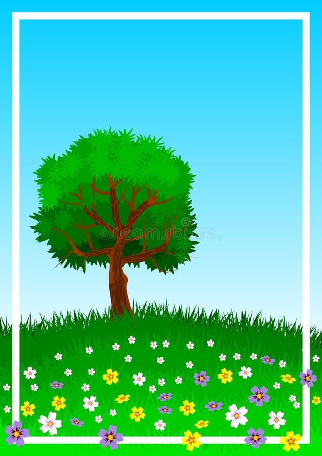 Υπόβαθρο ή ταπετσαρία με το θέμα ενός απομονωμένου δέντρου στον πράσινο και flowery λόφο απεικόνιση διανυσματική απεικόνιση