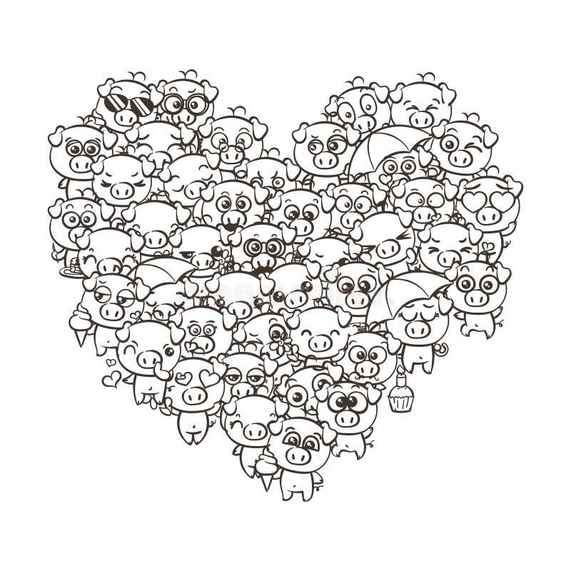 Υπόβαθρο αγάπης με τα χαριτωμένα χοιρίδια μωρών Χοίροι kawaii εικόνας κινούμενων σχεδίων κρητιδογραφιών διανυσματική απεικόνιση