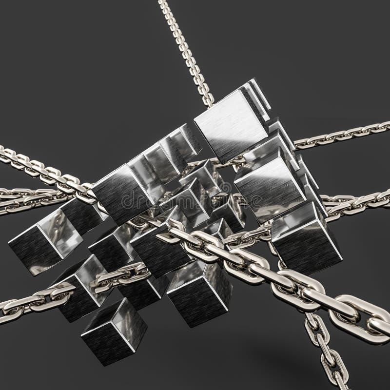 Υπόβαθρο αλυσίδων και κύβων μετάλλων, τρισδιάστατη απόδοση απεικόνιση αποθεμάτων