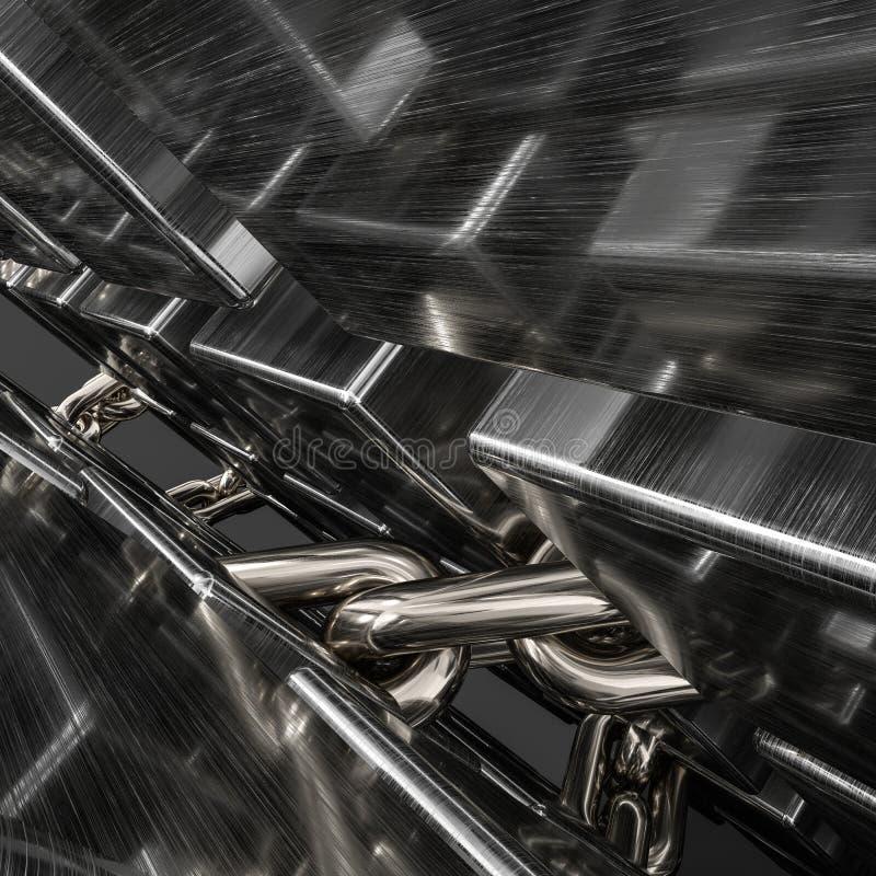 Υπόβαθρο αλυσίδων και κύβων μετάλλων, τρισδιάστατη απόδοση διανυσματική απεικόνιση