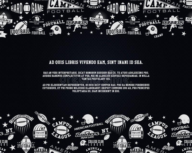 Υπόβαθρο αμερικανικού ποδοσφαίρου με το διάστημα για το κείμενό σας Ιπτάμενο ράγκμπι Σχεδιάγραμμα νύχτας αθλητικών κομμάτων, φυλλ διανυσματική απεικόνιση