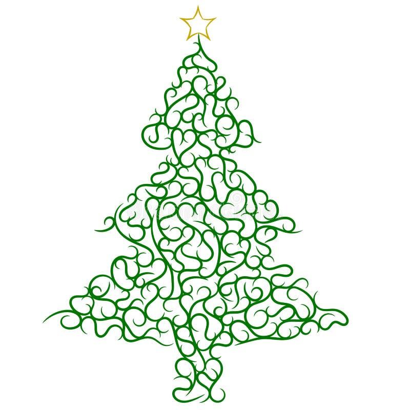 Υπόβαθρο απεικονίσεων διακοσμήσεων στροβίλου χριστουγεννιάτικων δέντρων διανυσματική απεικόνιση
