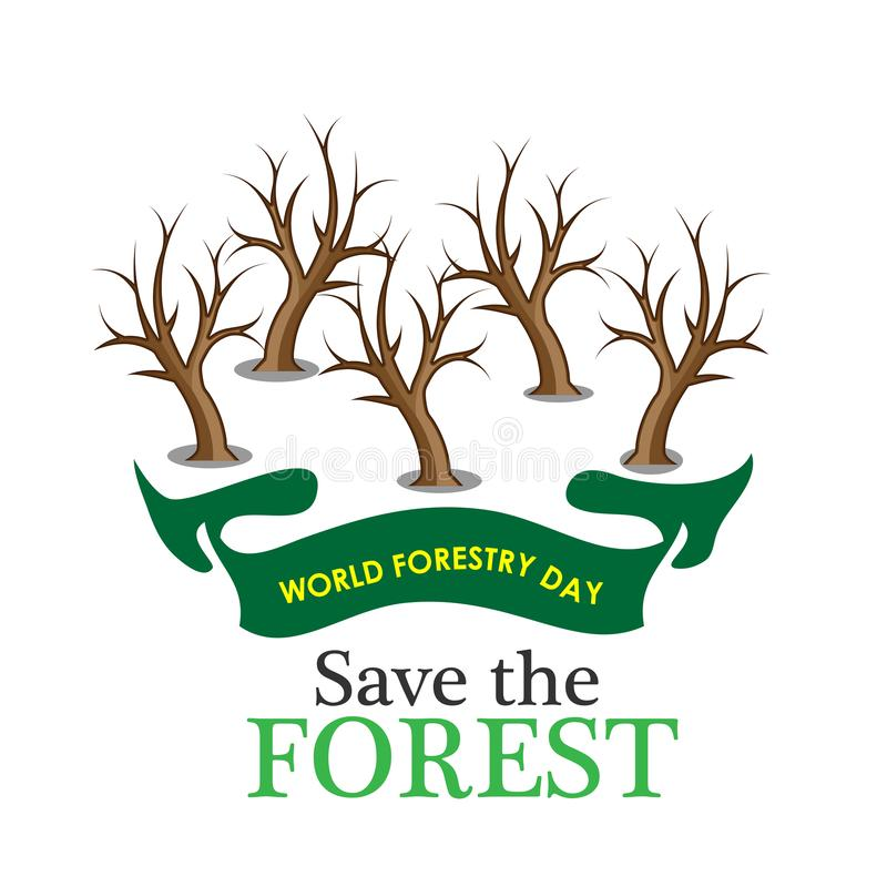 Υπόβαθρο αποθεμάτων ημέρας παγκόσμιας δασονομίας εκτός από το δασικό, νεκρό δέντρο διανυσματική απεικόνιση