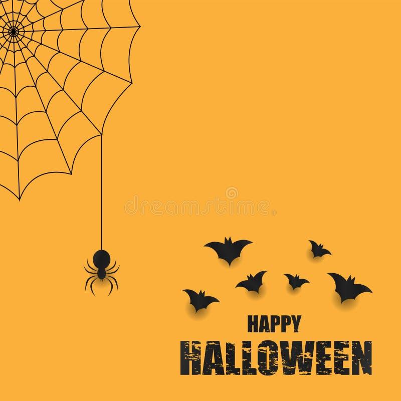 Υπόβαθρο αποκριών με μια αράχνη και έναν Ιστό διανυσματική απεικόνιση