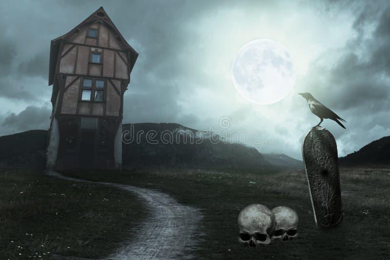Υπόβαθρο αποκριών με το παλαιό σπίτι umpkin, τον τάφο, το κοράκι και το φεγγάρι στοκ φωτογραφία με δικαίωμα ελεύθερης χρήσης