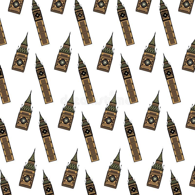 Υπόβαθρο αρχιτεκτονικής πύργων Big Ben χρώματος διανυσματική απεικόνιση