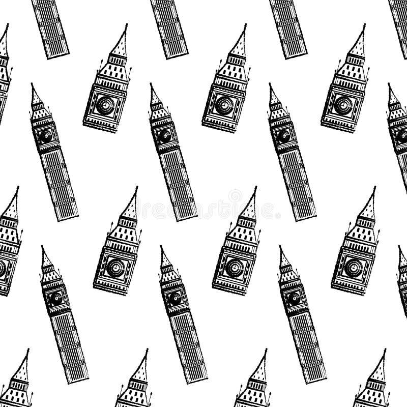 Υπόβαθρο αρχιτεκτονικής πύργων Big Ben Grunge διανυσματική απεικόνιση